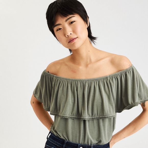 29be57c24aae45 American Eagle Outfitters Tops - Olive green American Eagle off shoulder top